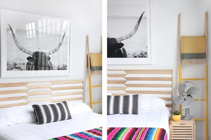 décoration minimaliste dans une chambre blanche avec meubles bois, comment personnaliser facilement une tête de lit en bois