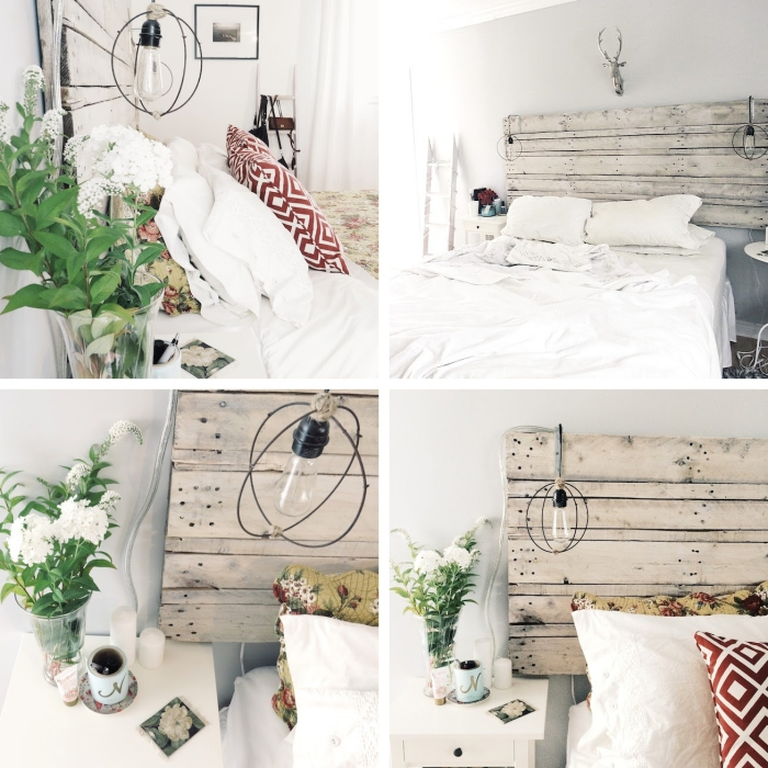 idée tete de lit a faire soi meme, décoration chambre scandinave avec meubles bois, astuce rangement avec échelle bois