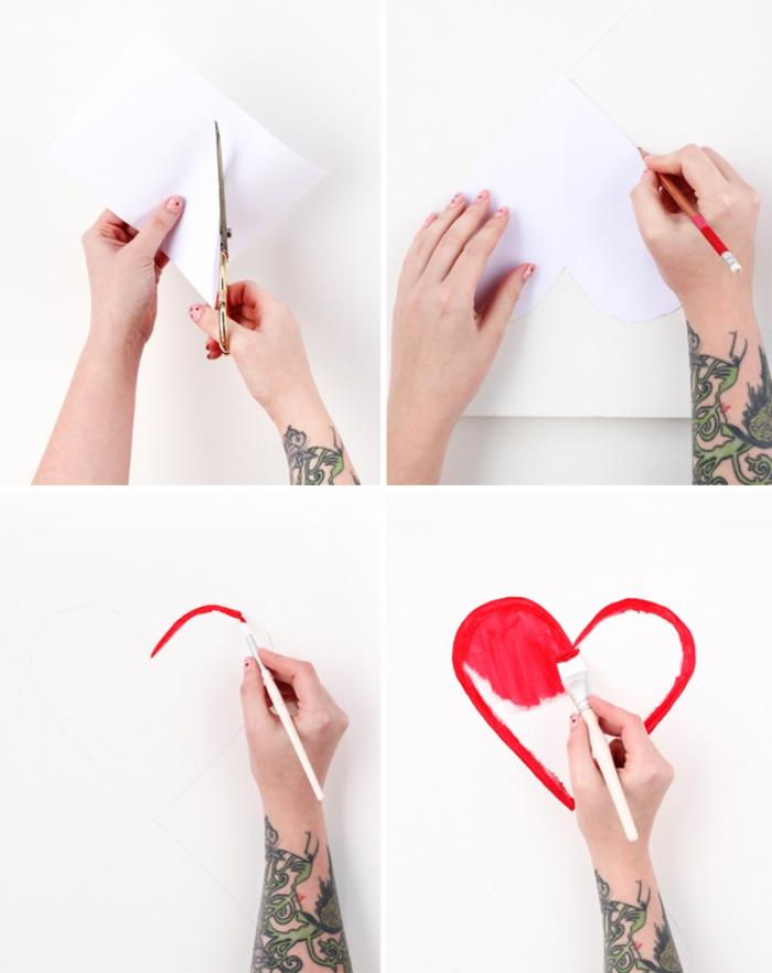deco mural coeur, découper un coeur en papier, deco a faire soi meme, tatouage bras
