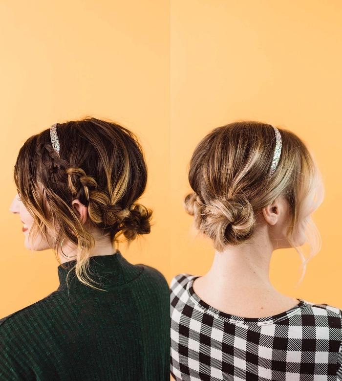 idée de coiffure femme avec tresses, un chignon bas enroulé avec tresse sur le côté et headband, chignon romantique bas avec mèches détachées