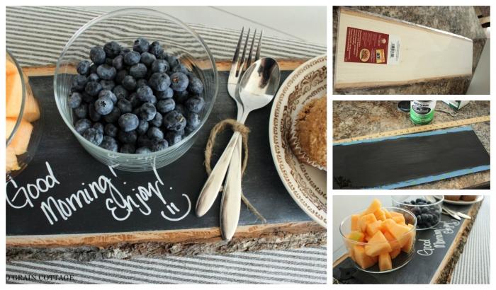 DIY table rustique pour servir le petit déjeuner au lit, originale idée cadeau de mariage insolite, coffret cadeau couple