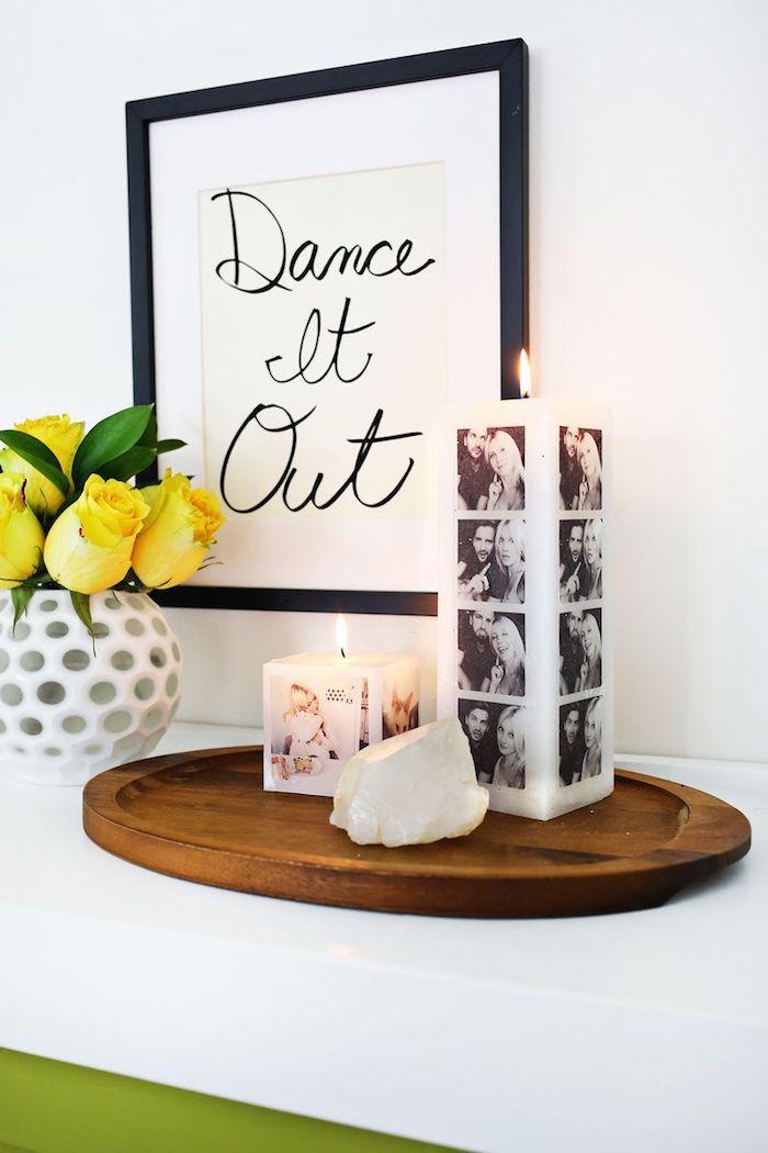 Cadre image décorative, bougie avec photos de la couple, cadeau pour couple, mariage cadeau a faire soi meme