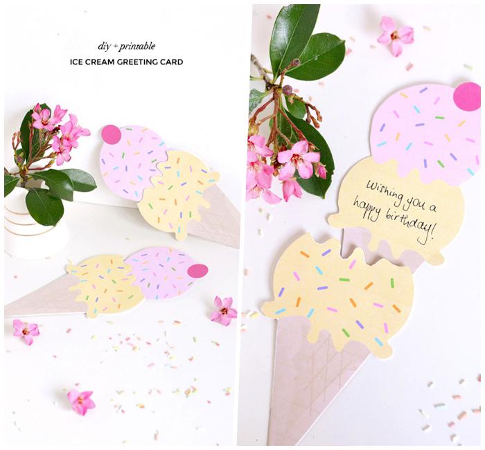 carte d'anniversaire à imprimer en forme de cornet de glace avec son pochoir, carte de voeux personnalisée cornet à glace