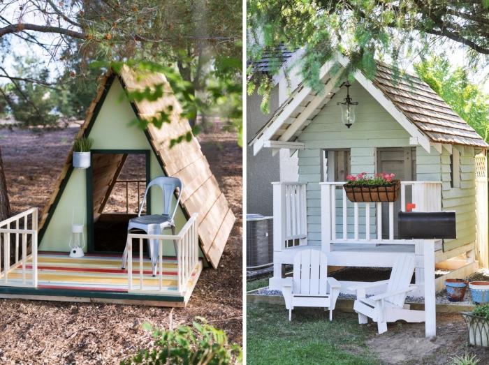 idee palette recyclé en forme de maison de jardin, comment faire une petite cabane pour jeux d'enfant en bois