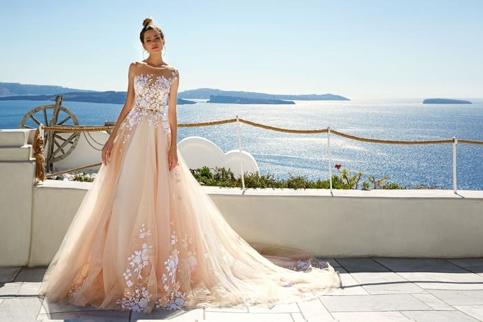 Magnifique robe rose pale et blanc dentelle, robe de mariee princesse tulle jupe et top original, robe de mariée originale