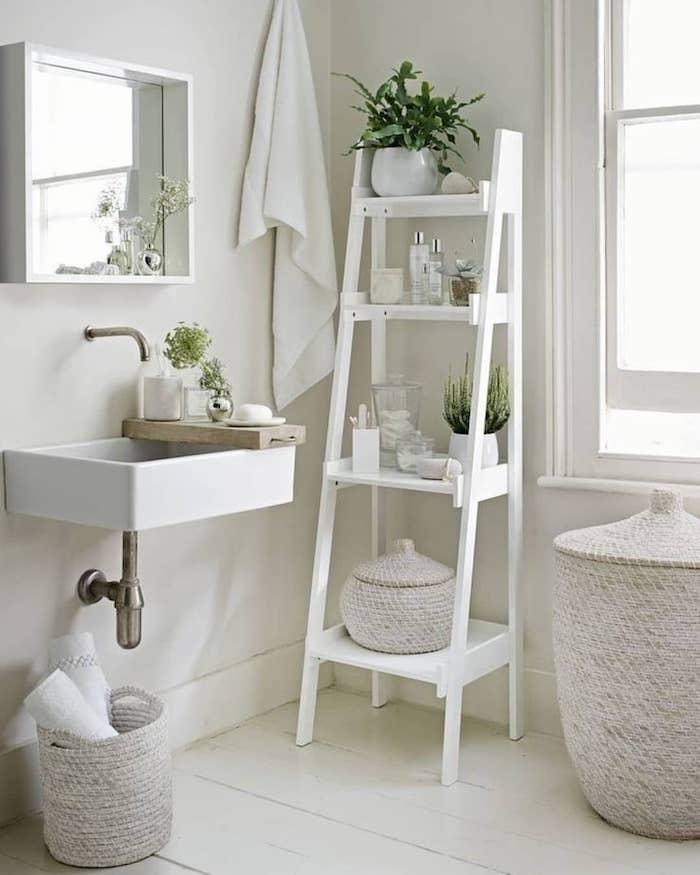 Échelle rangement, cactus, plante verte, basket de rangement, salle de bain grise, salle de bain blanche et bois décoré bien
