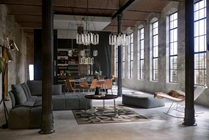 design intérieur tendances déco moderne, idée salon style industriel avec meubles matériaux bruts, modèle de canapé gris anthracite