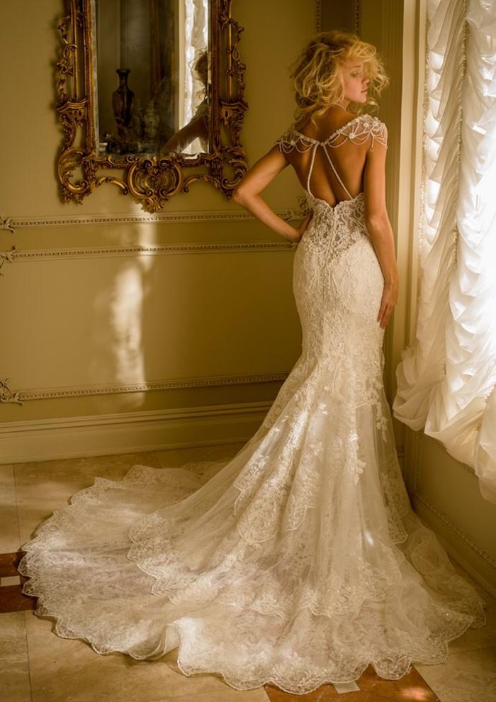 DOs détaillée comme bijou, robes de mariée princesse coupe sirène, robe de mariée bohème tendance 2019