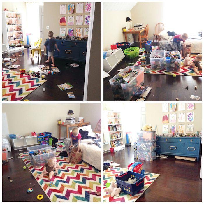 Chambre enfant, comment faire le menage et le rangement chambre à coucher moderne, rangement livre étagère, jouets dans baskets