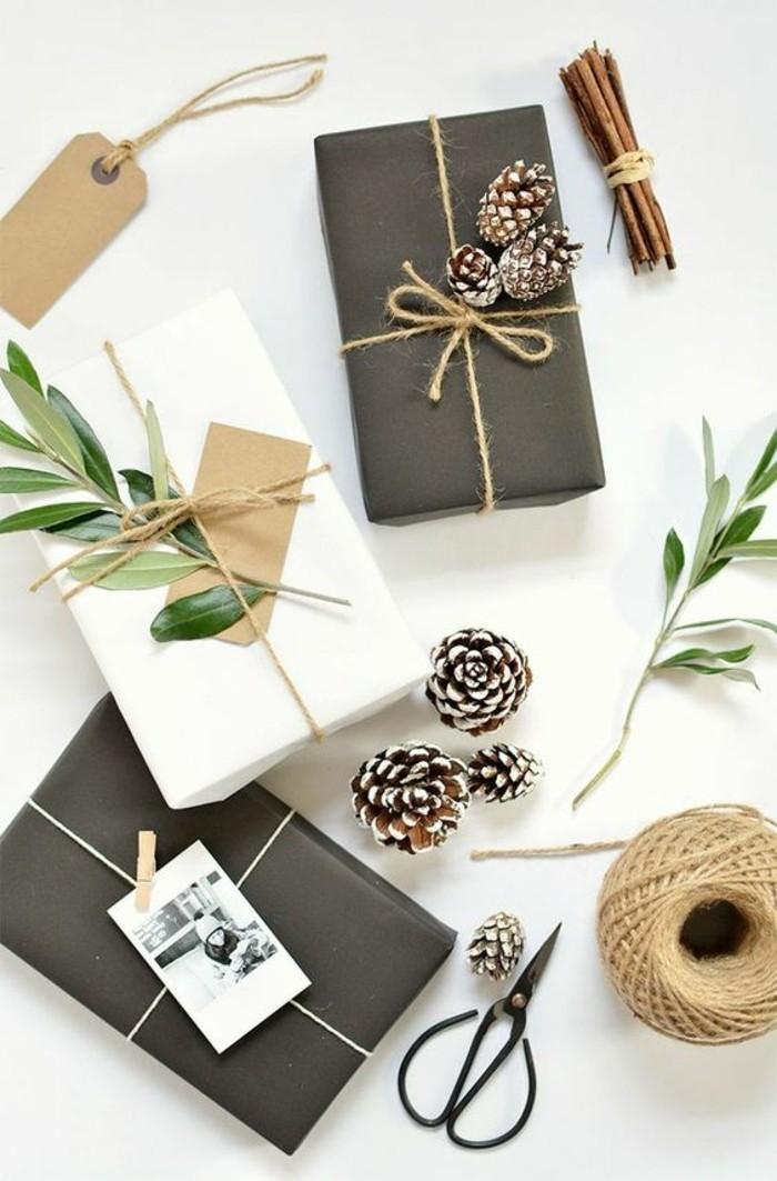 activité manuelle de Noël facile, comment emballer les cadeaux de noel, que faire avec des pommes de pin