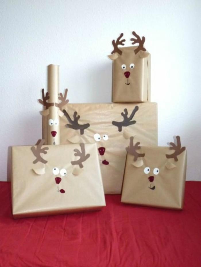 comment emballer les cadeaux pour Noël, idée déco facile et amusante avec papier, emballage pour cadeau de noel a fabriquer