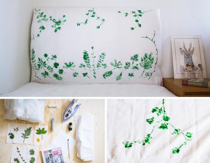 technique empreintes floraux sur tissu avec peinture verte, fabriquer une tete de lit en bois et tissu personnalisé