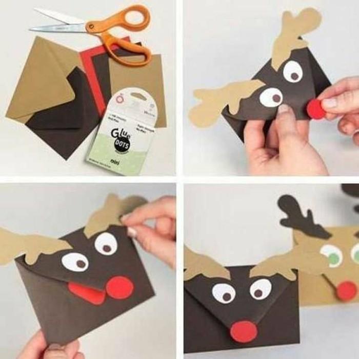 tutoriel pour fabriquer une enveloppe de noël facile, idée art du papier, modèle enveloppe en papier scrap à design cerf