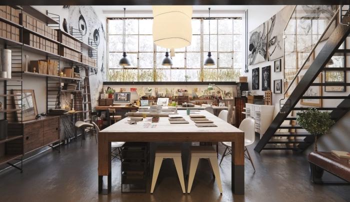 déco style industriel dans une cuisine aménagée avec meubles bois et fer, idée suspension luminaire en métal