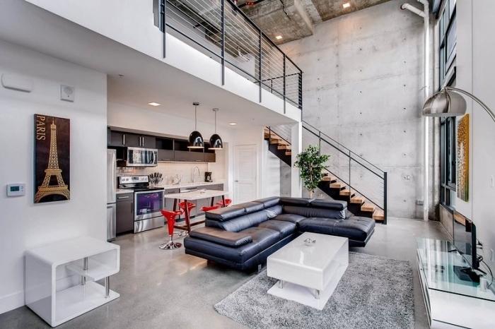 meuble style industriel pour salon, modèle de tapis rectangulaire faux fur en gris clair, design intérieur moderne aux murs béton