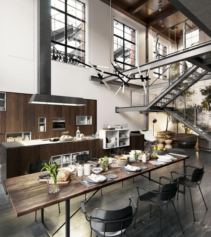 modèle de table à manger bois brut et métal, idée déco de cuisine industrielle aux murs blancs avec meuble bois et gris foncé