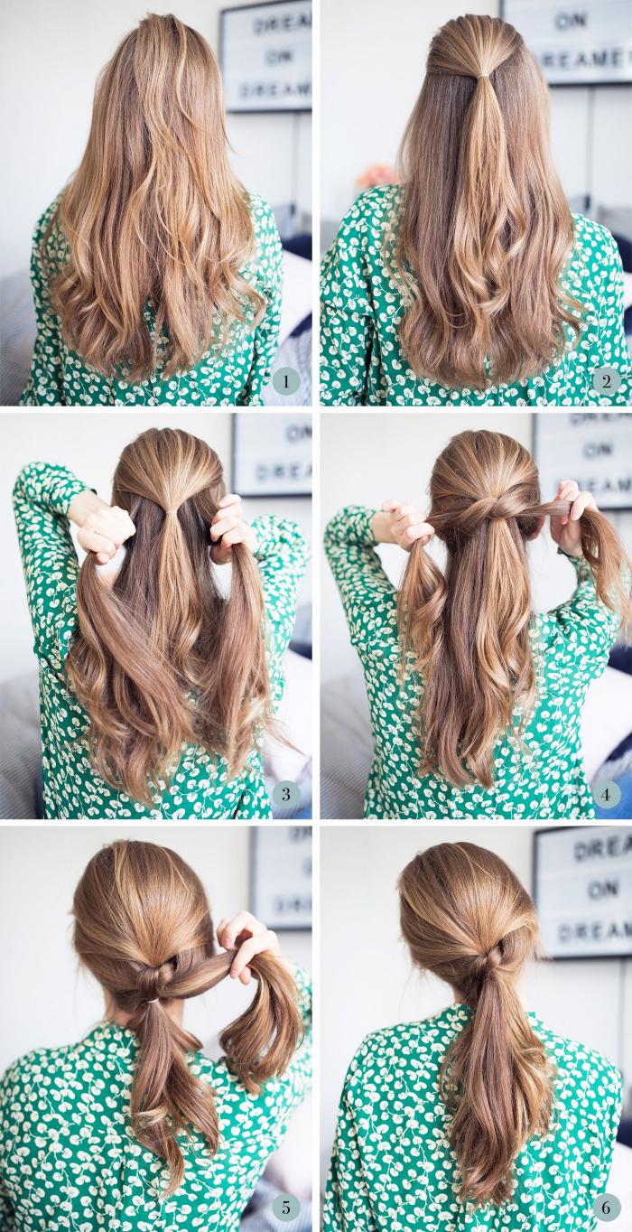 tuto pour faire une demi queue de cheval avec les mèches de côté, exemple de coiffure facile a faire