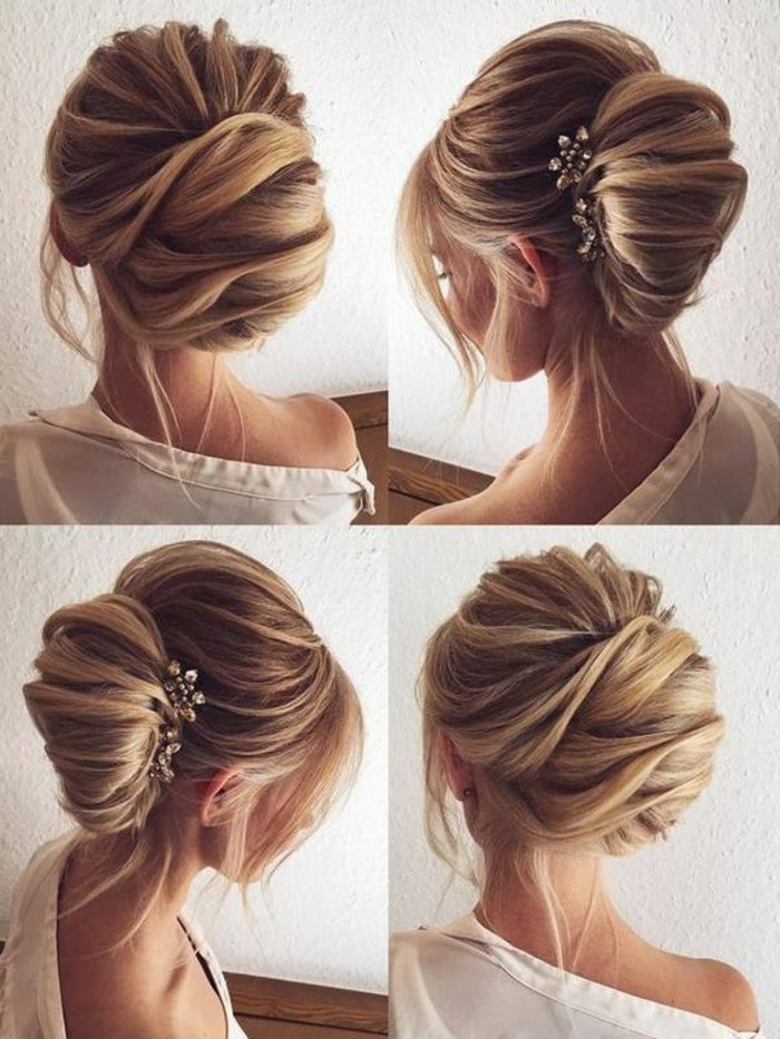 chignon banane ultra volumineux avec des mèches rebelles et accessoire bijou pour cheveux pour votre coiffure mariée