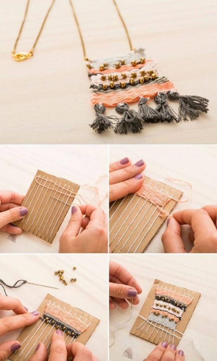 modèle de collier fait main avec fils et perles, cadeau meilleure amie fait maison, diy collier pendentif macramé avec glands gris foncé et perles dorées