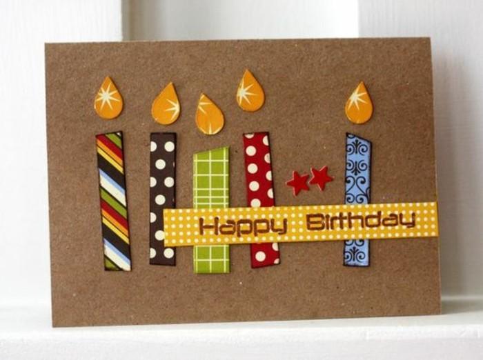faire une carte d'anniversaire personnalisée en papier kraft décorée de bougies en masking tape
