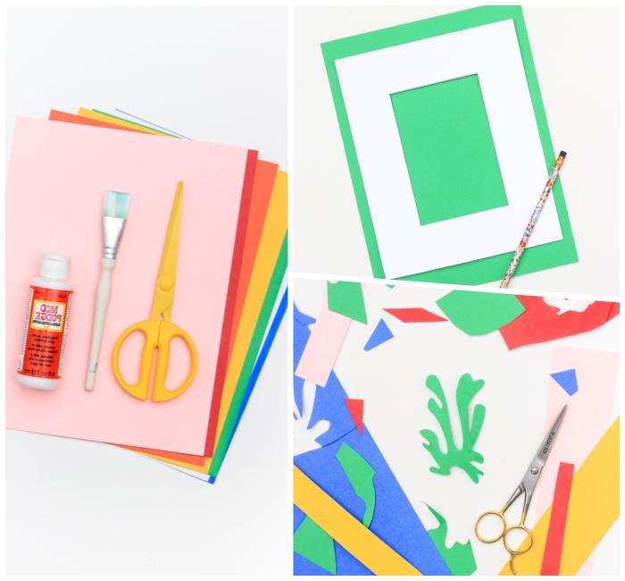 déco colorée avec feuilles de papier coloré, ciseaux jaunes, colles, découper des figures en papier