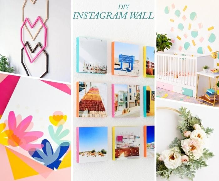 idee deco mur colorée, plusieurs variantes de déco diy murale, mur de photos, couronne, figures géométriques