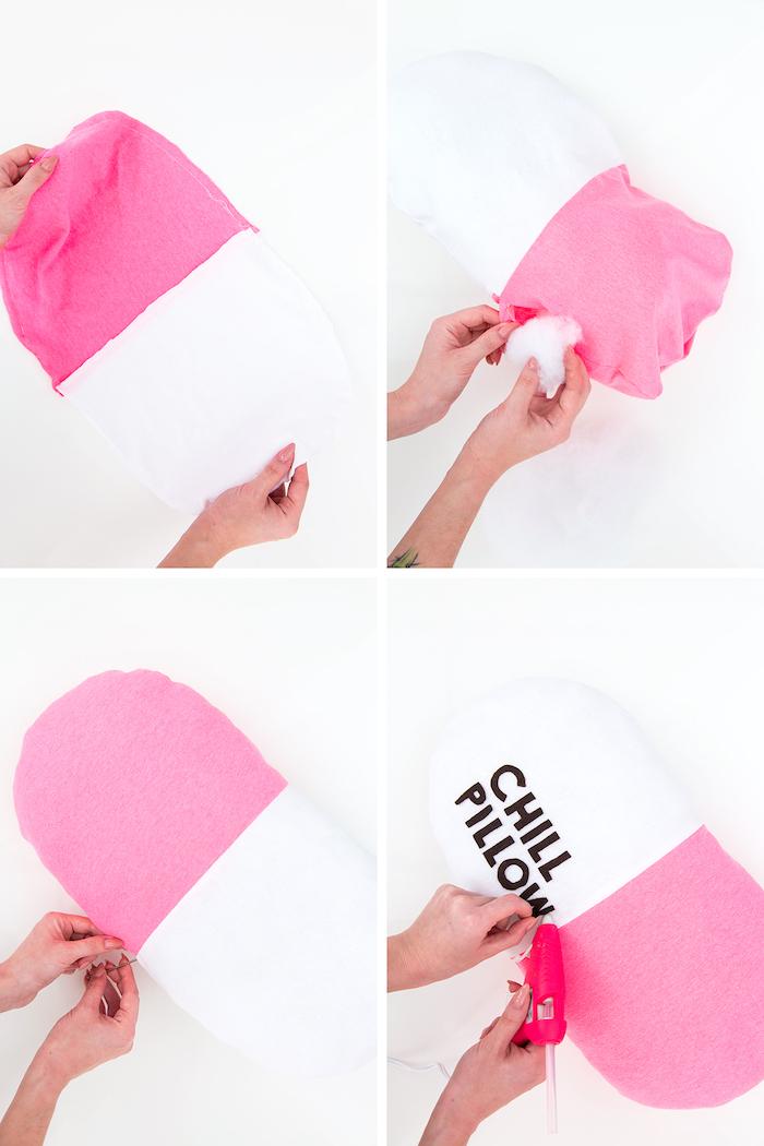 comment fabriquer un coussin en forme de pilule, idée cadeau pour sa meilleure amie a faire soi meme, diy coussin pilule en rose et blanc