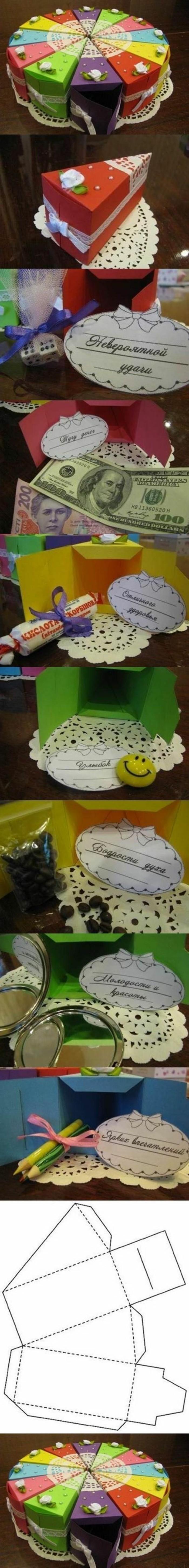 cadeau meilleure amie fait maison, idées cadeaux créatifs, DIY morceaux de gâteau colorés en papier scrapbooking