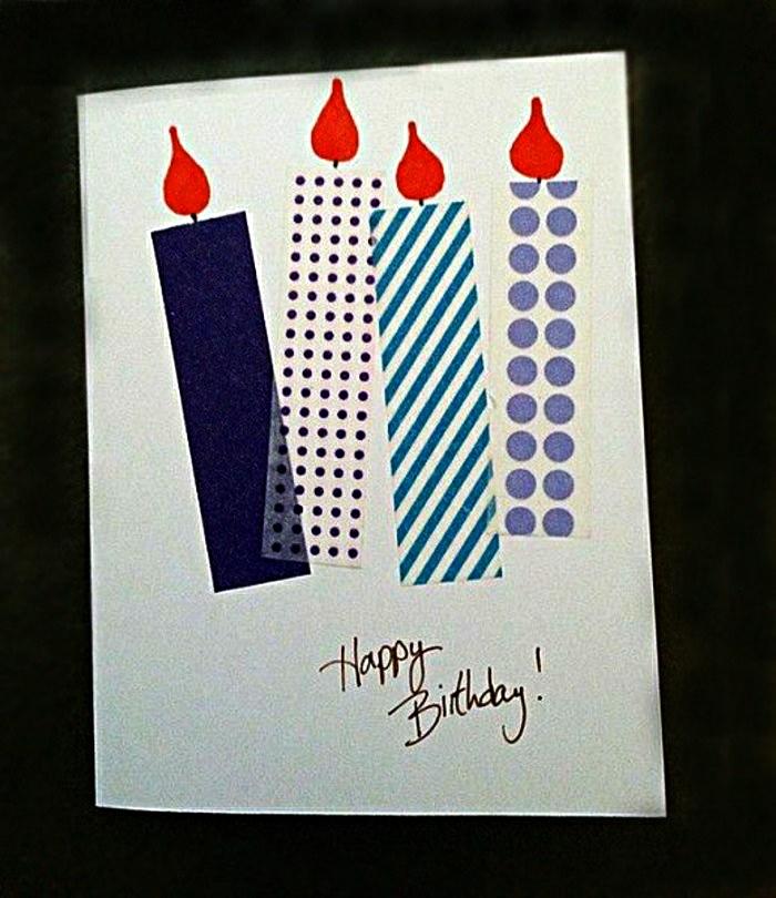 idée de carte anniversaire à faire soi meme décorée de bougies en masking tape et d'une écriture manuscrite joyeuse anniversaire
