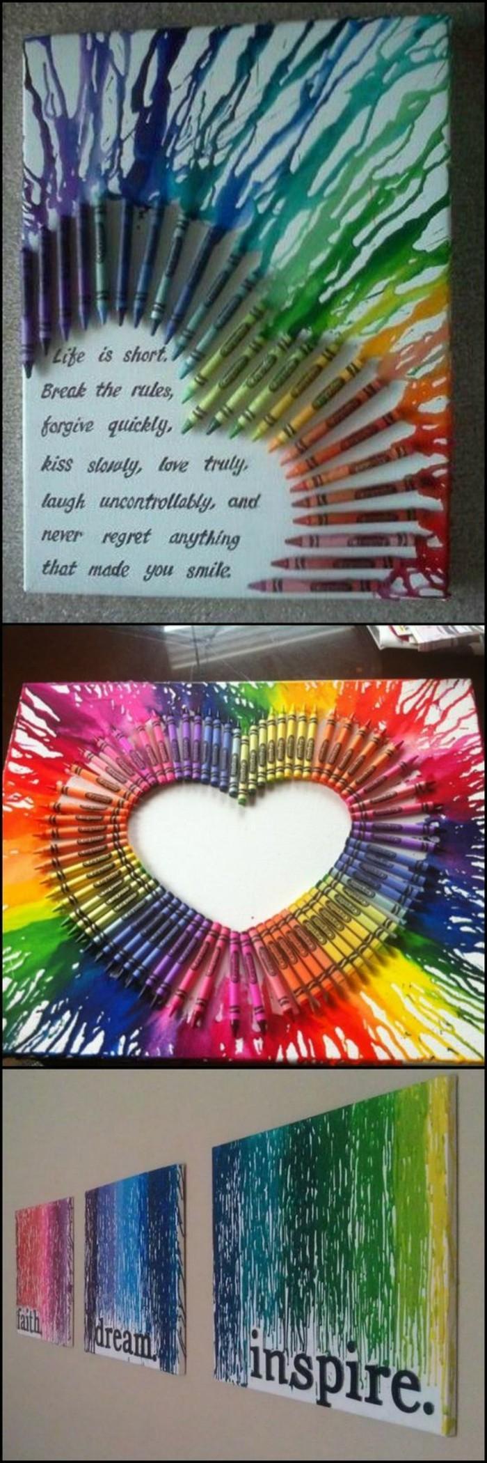 decoration murale design colorée, coeur et phrase inspirante, trois tableaux muraux