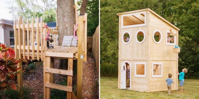 maison pour jeux d'enfants extérieur, exemple terrasse bois sur pilotis avec échelle pour jeux, fabriquer un abri de jardin avec des palettes