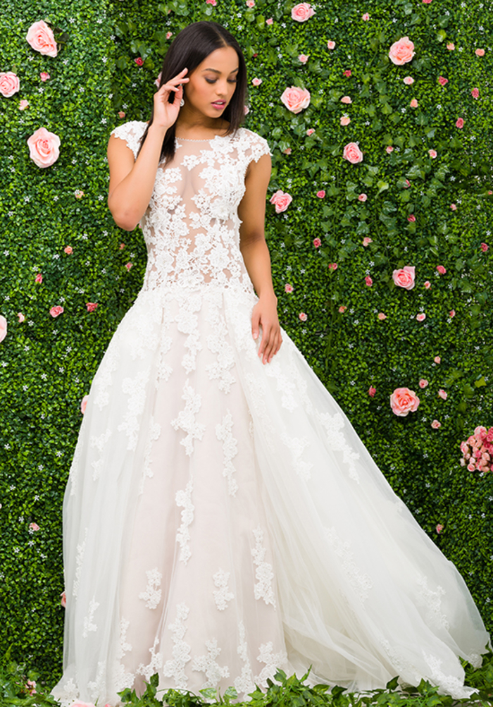 Femme cheveux longs brunes, robe top dentelle transparente, robe de princesse mariage, les plus belles robes de princesse pour mariage
