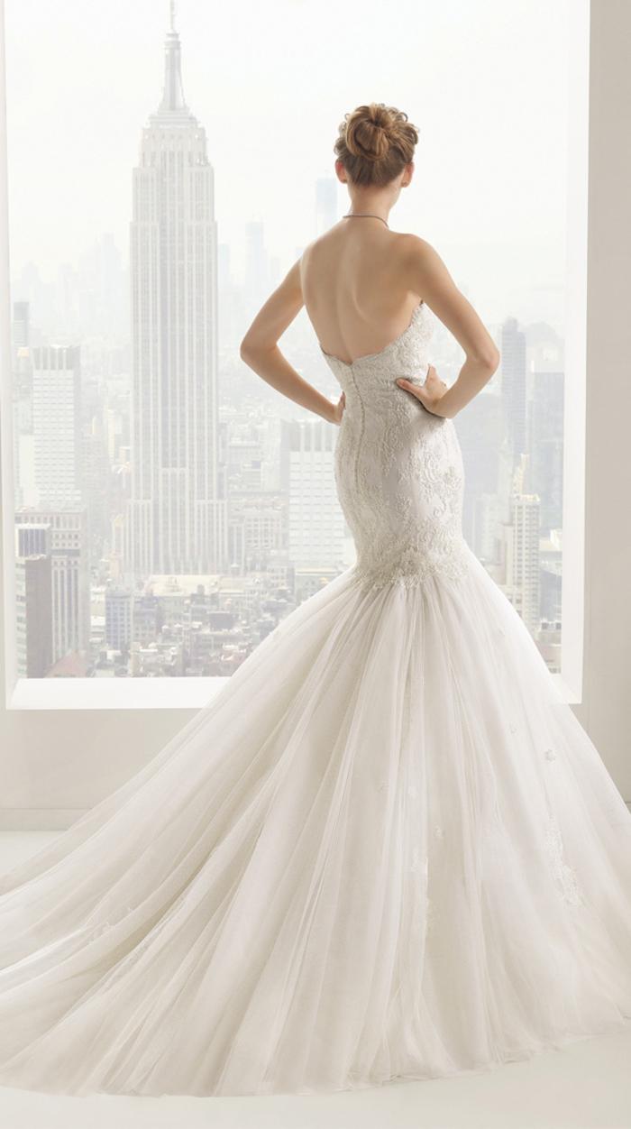 Vie new york, robe de mariee princesse bustier, robe de mariée originale coupe sirène style de princesse