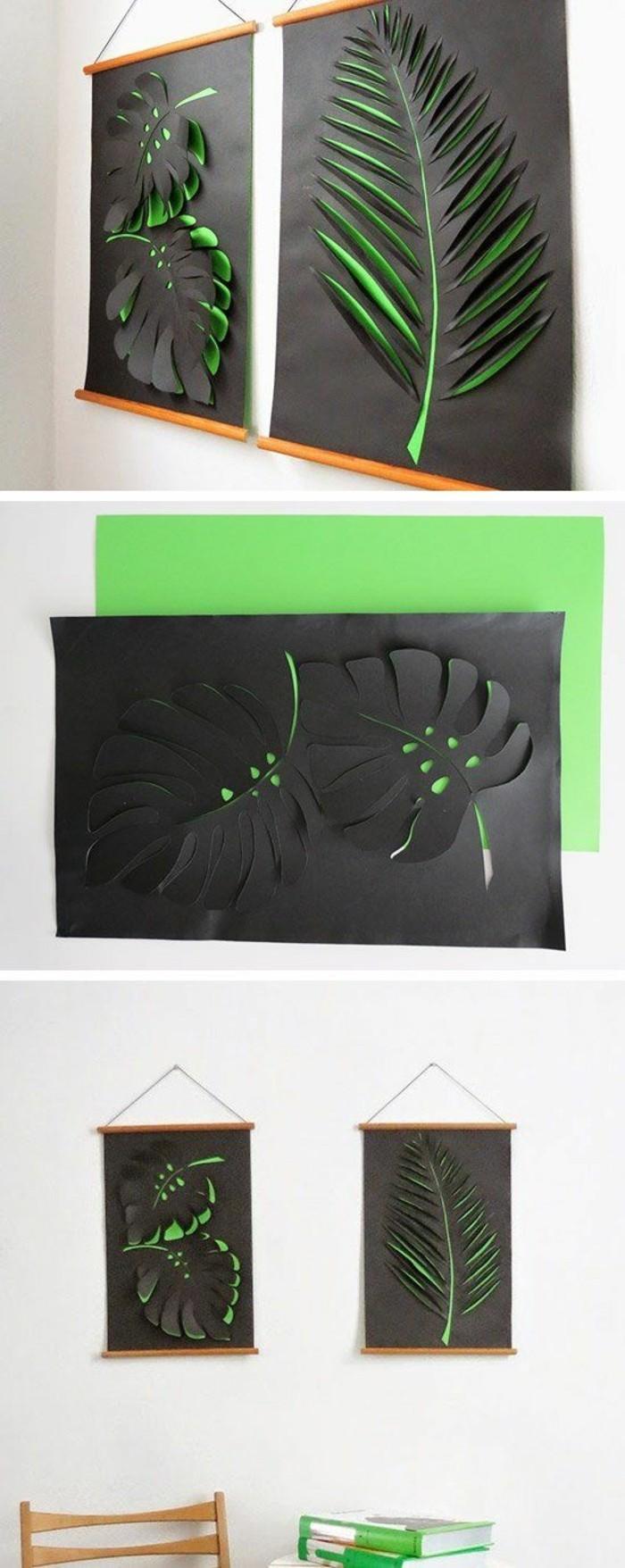 décoration murale 3d, grande feuille tropicale avec papier découpé, déco murale à découper