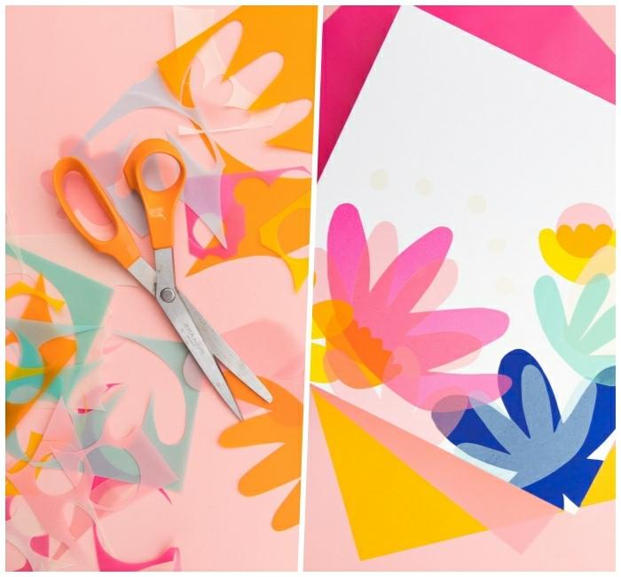 décoration murale à faire soi même, ciseaux, fleurs colorées découpées en papier, feuille en papier