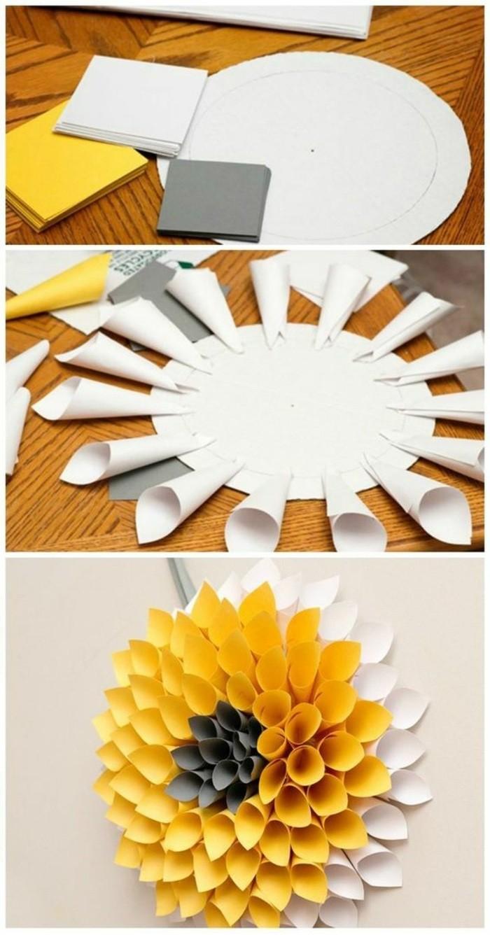 soleil en papier jaune et blanc, deco murale créative, joli tournesol en papier enroulé