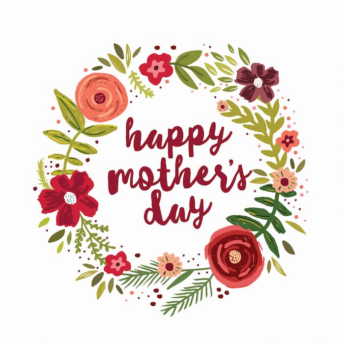 Couronne de fleurs qui entoure bonne fete maman, envoyer message à maman, image qui donne de sourire, fleurs aquarelles