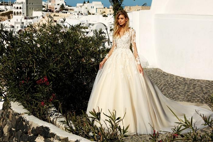Belle robe de princesse dentelle et tulle, manches dentelle fleurie, robe de mariée bustier princesse, belle femme en blanc