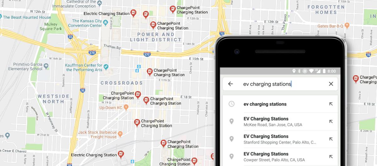 image Google Maps qui permet désormais de localiser en direct les bornes de recharge disponibles pour voitures électriques