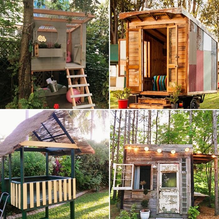 construire une cabane de jardin, modèle abri de jardin avec échelle et fenêtre ronde, exemple petite maison bois