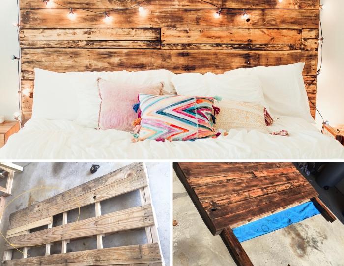 idée comment fabriquer une tete de lit en palettes avec décoration guirlande lumineuse, technique assemblage lattes bois