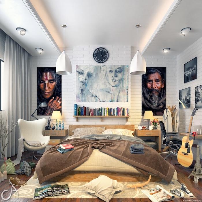 Tableau art, étagère livres, lit double, guitare et bureau pour travailler, meuble gain de place, chambre 9m2 bien rangée et propre