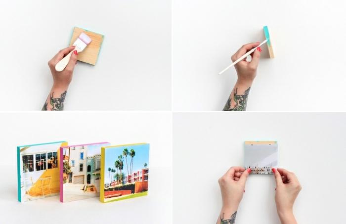 mur photo, cubes en bois peints avec couleur turquoise, idée de bricolage avec photos instagram