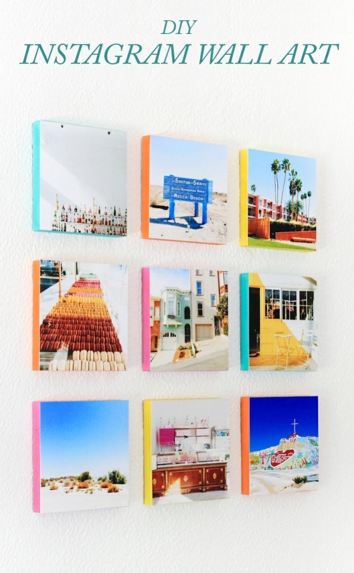mur de photos, photos instagram de voyages en belles couleurs disposées au mur