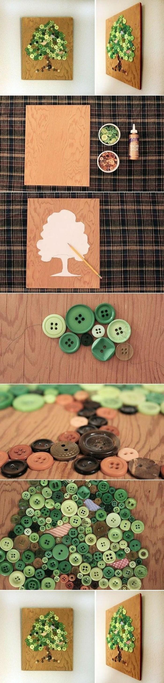 arbre en boutons verts comme déco murale, idée de bricolage original, déco créative en bois