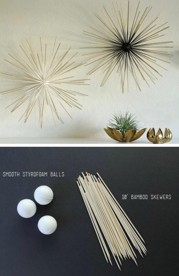 idée bricolage facile avec boule de polystyrène et brochettes bambou, deco murale bois