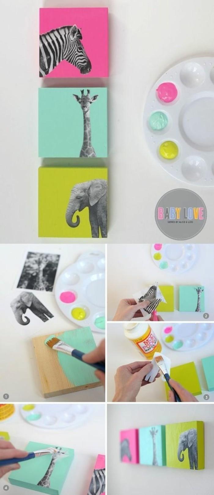 deco murale les animaux du jungle, girafe, zèbre, éléphant, collés sur cubes de bois multicolores