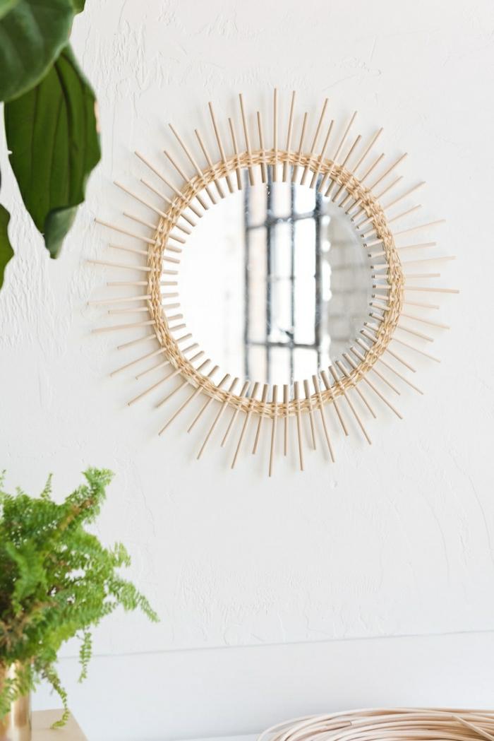 miroir rond, cadre de miroir en rotin, décoration murale chambre, grandes plantes décoratives