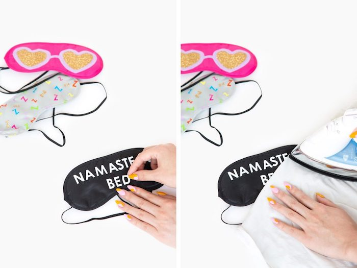 modèle de masque de sommeil noir personnalisé avec lettres namaste, comment réaliser transfert lettres sur tissu, idée cadeau a faire soi meme