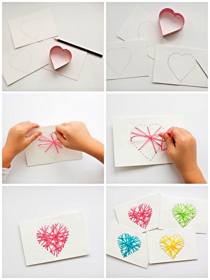 cartes faite-maison avec coeur brodé pour souhaiter la fête des mères, carte fête des mères à réaliser avec les petits enfants de la maternelle